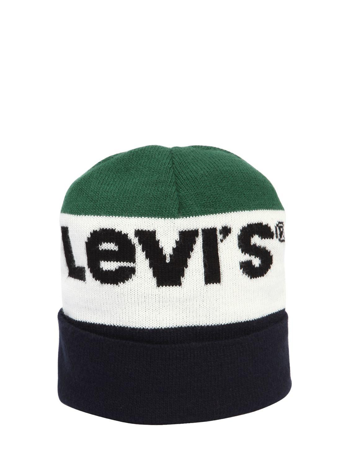 84610ce44cc Levi s Knit Beanie Hat in Green for Men - Lyst