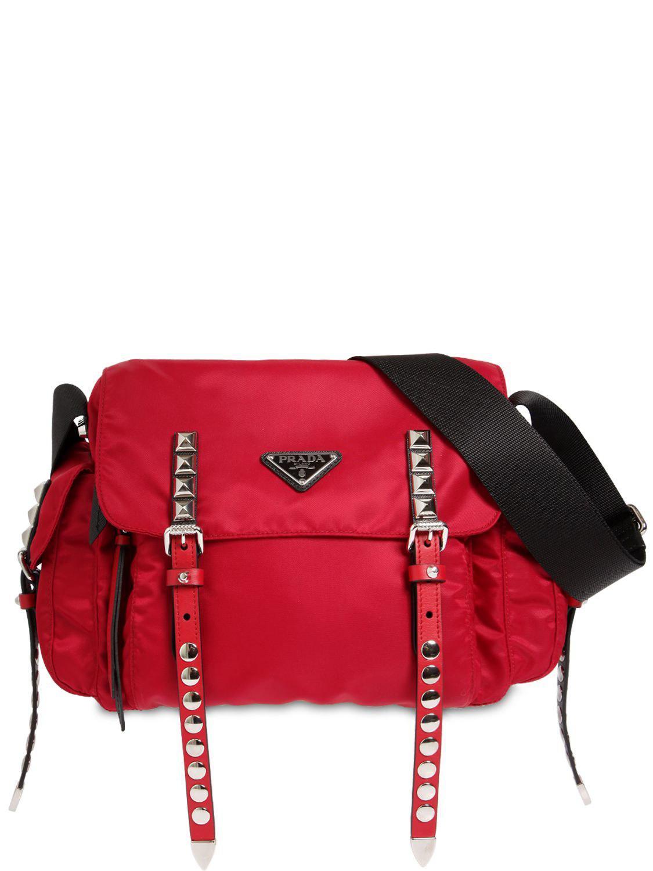 Prada Nylon Canvas Shoulder Bag in Red - Lyst edea764ed8d30