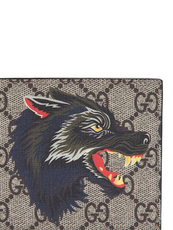 e3c7f7050c0b Gucci Wolf Printed Gg Supreme Classic Wallet in Natural for Men - Lyst
