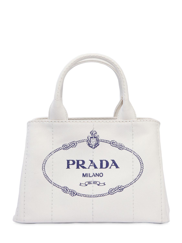 fd93b1e3c Prada Small Gardener's Cotton Canvas Bag in White - Lyst