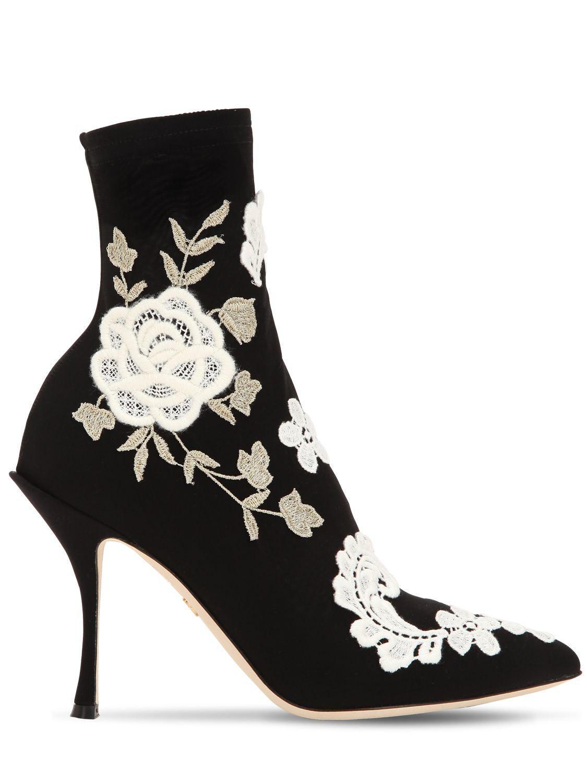 Lyst À Dolce Coloris Bottines Gabbana Noir Fleurs Brodées amp; En rfnrIq5Z