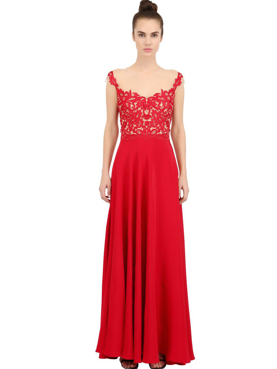 Reem Acra Embellished Applique Silk Faille High/low Gown in Red - Lyst