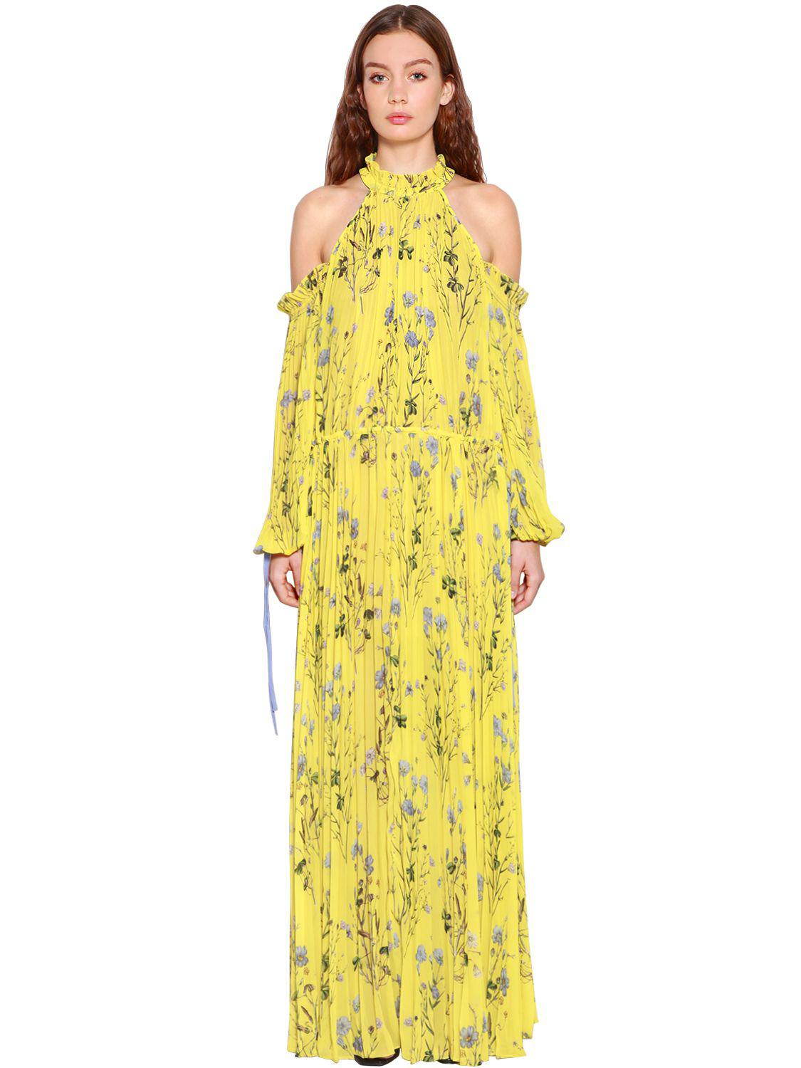 5469684368f18 Self-Portrait Pleated Floral Printed Crepe Maxi Dress in Yellow - Lyst