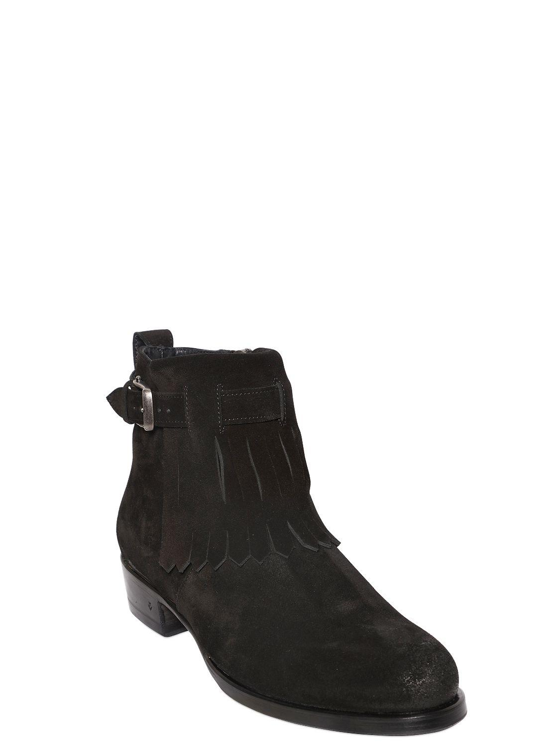 John Varvatos 30MM FRINGED SUEDE ANKLE BOOTS 0GUvfCZAJ