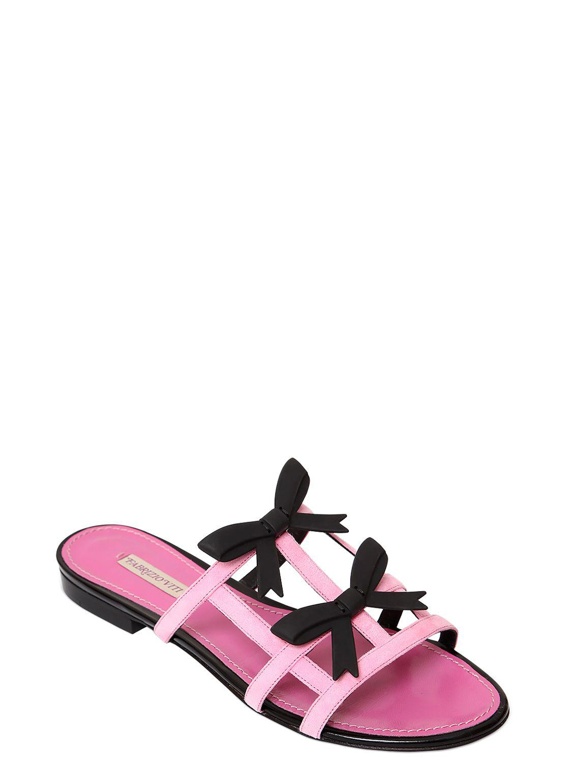 Fabrizio Viti 10MM CITY BOW SUEDE SLIDE SANDALS Fast Delivery Cheap Price Cheap Sale Amazing Price Recommend Cheap Discount Best Cheap Online 3xa1cr