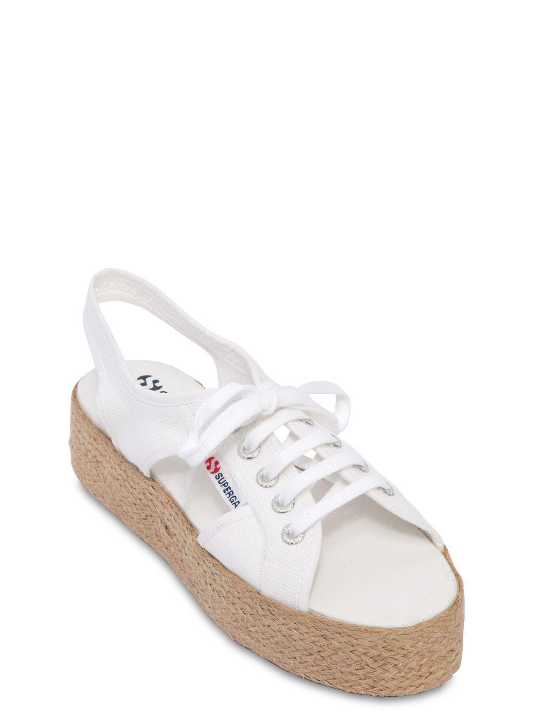 24fc80c62ff Superga - White 40mm Canvas Platform Sandals - Lyst. View fullscreen