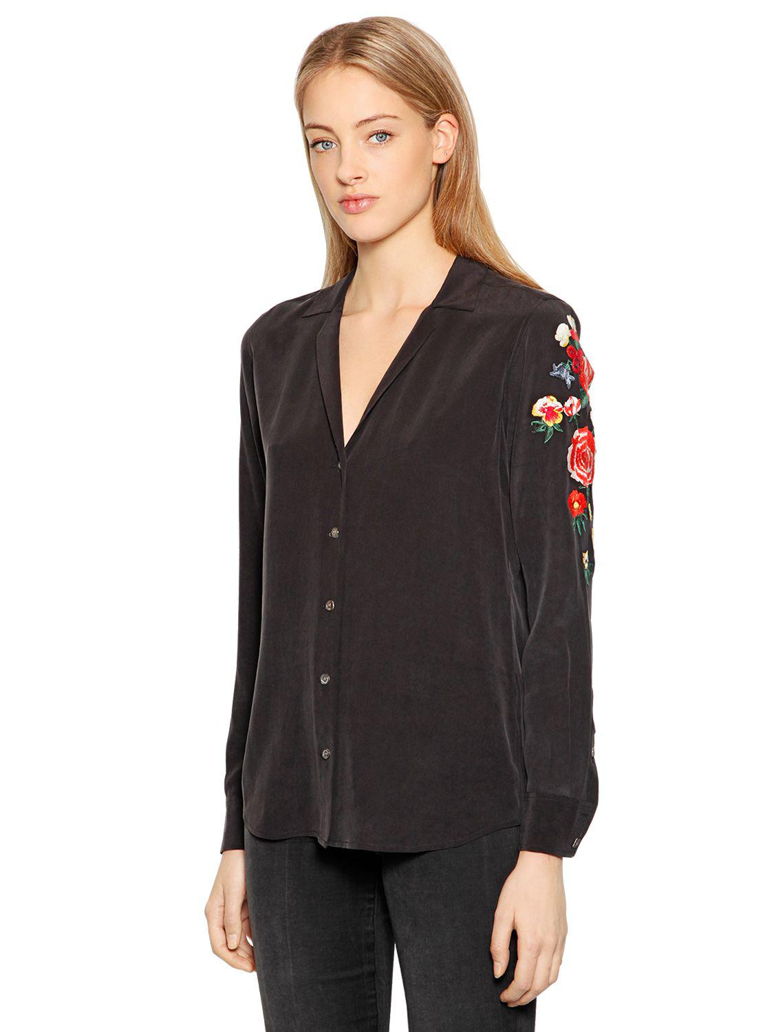 b8087e04c7b9d2 Equipment Adalyn Floral Embroidered Silk Shirt in Black - Save 1% - Lyst