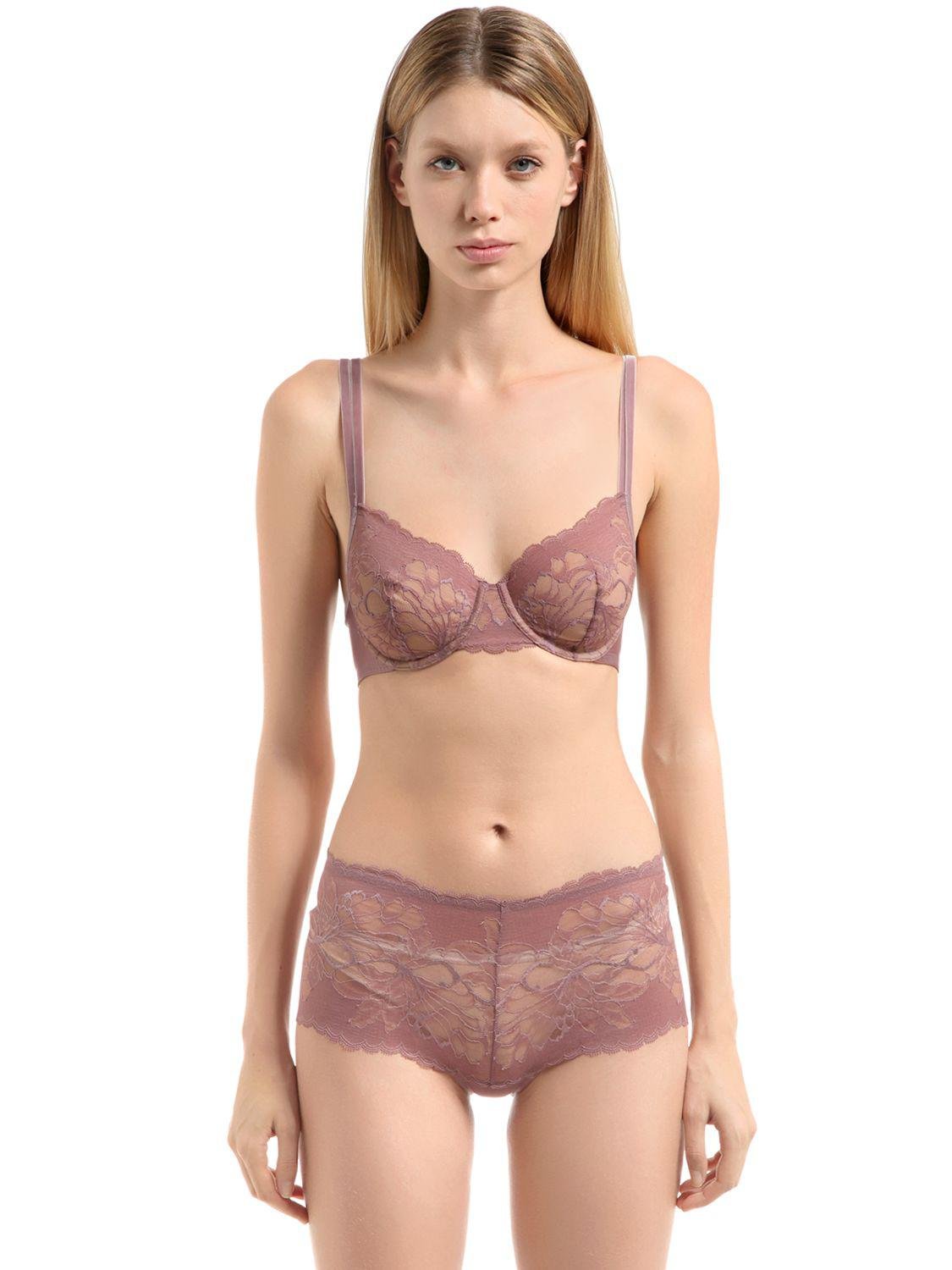 92be83966 Wolford Plush Lace Bra in Pink - Lyst