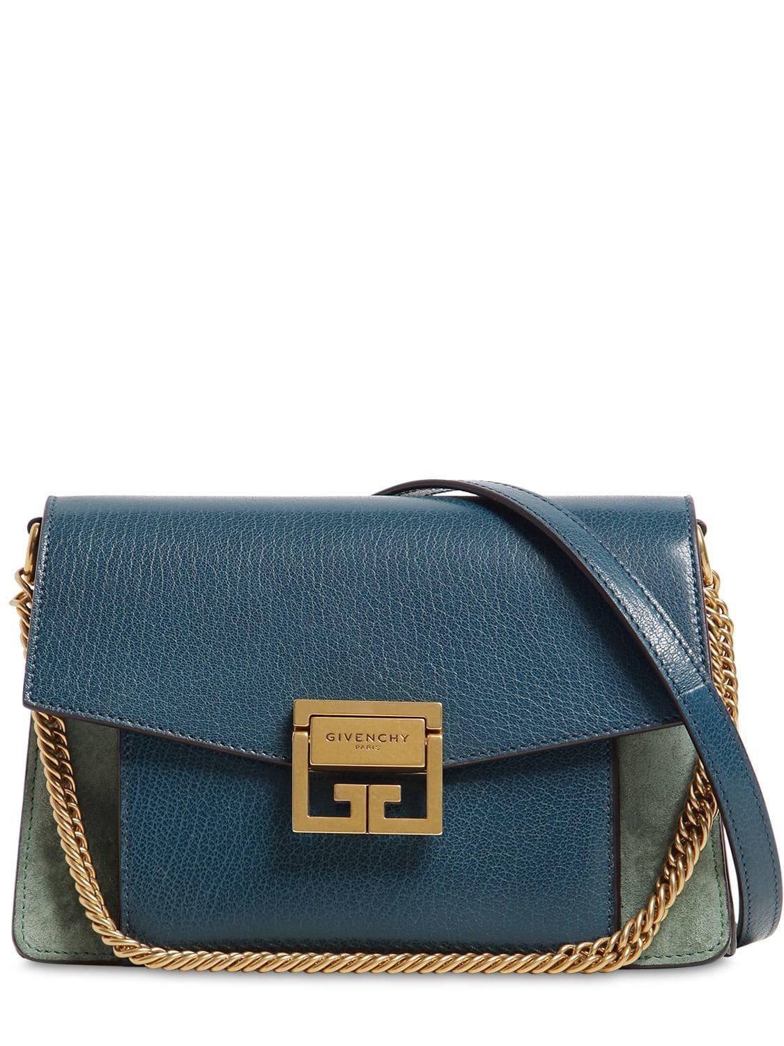 d61077152c Lyst - Givenchy Gv3 Small Swede And Leather Shoulder Bag in Blue