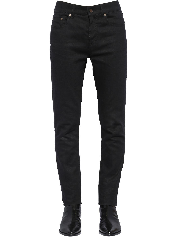 b533168d711d0 Lyst - Saint Laurent 16cm Skinny Low Rise Cotton Denim Jeans in ...
