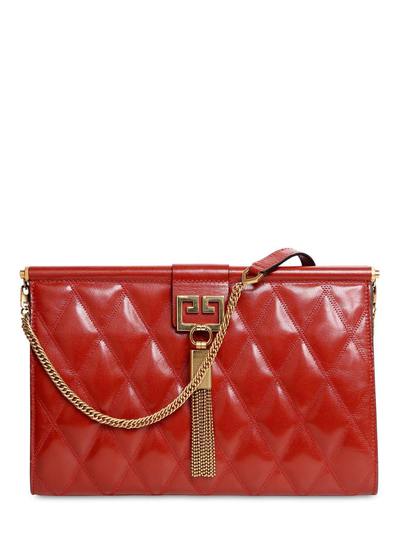 Lyst - Givenchy Medium Gem Quilted Leather Shoulder Bag in Red c7589dda4b