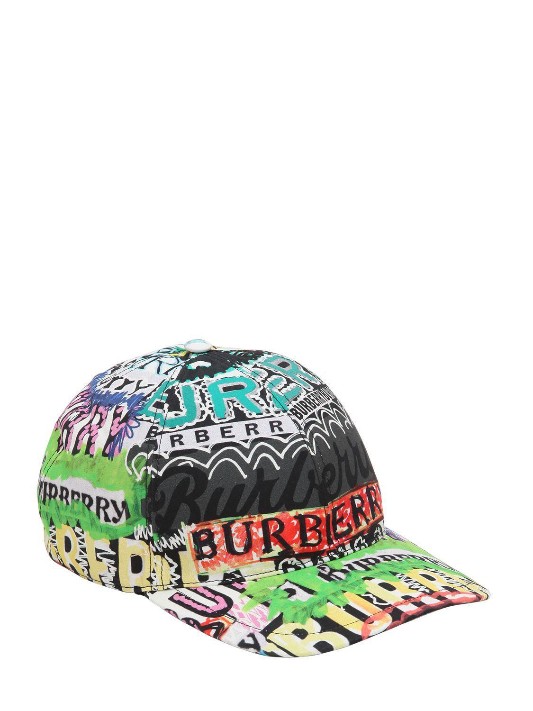 Lyst - Burberry Graffiti Check Cotton Baseball Hat ca1fa889e817