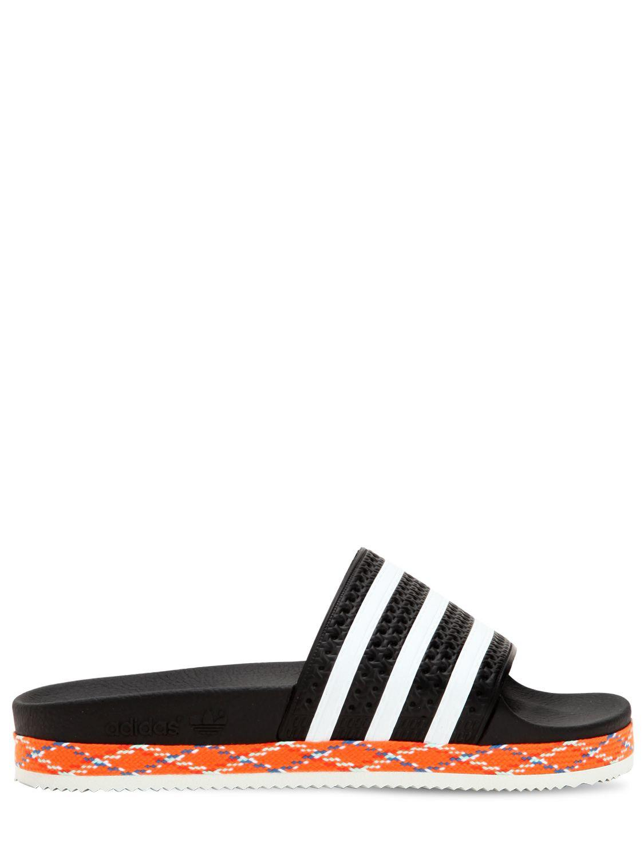 sale retailer 03646 7462b Adidas Originals - Black Adilette New Bold Slide Sandals for Men - Lyst. View  fullscreen