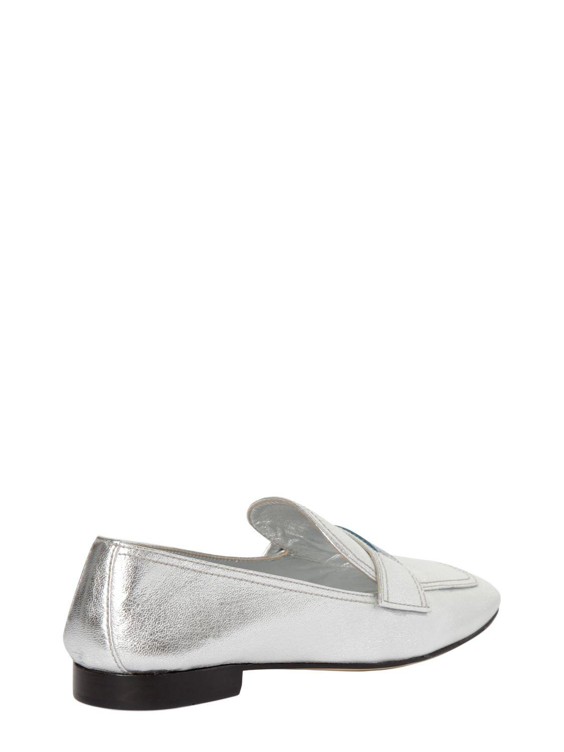 Cheap Latest Silver logo leather loafers - Metallic Prada Pick A Best Online Outlet Latest nShU8Px4
