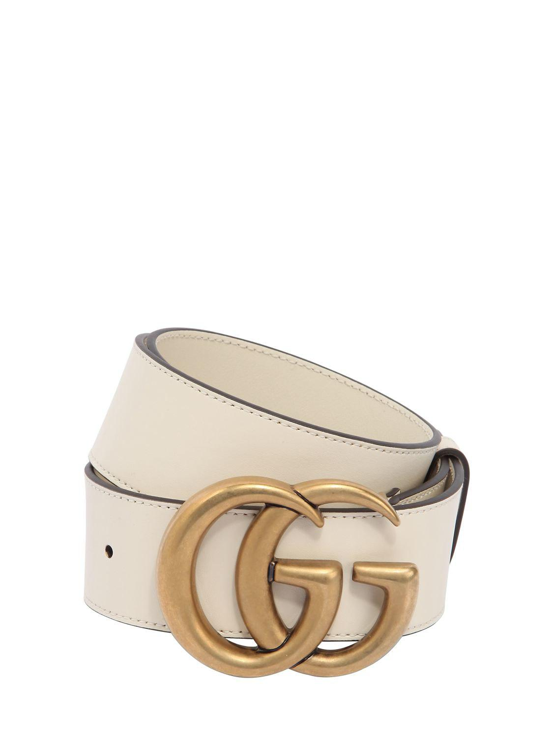 f7162699a91 Lyst - Gucci 40mm Gg Leather Belt in White