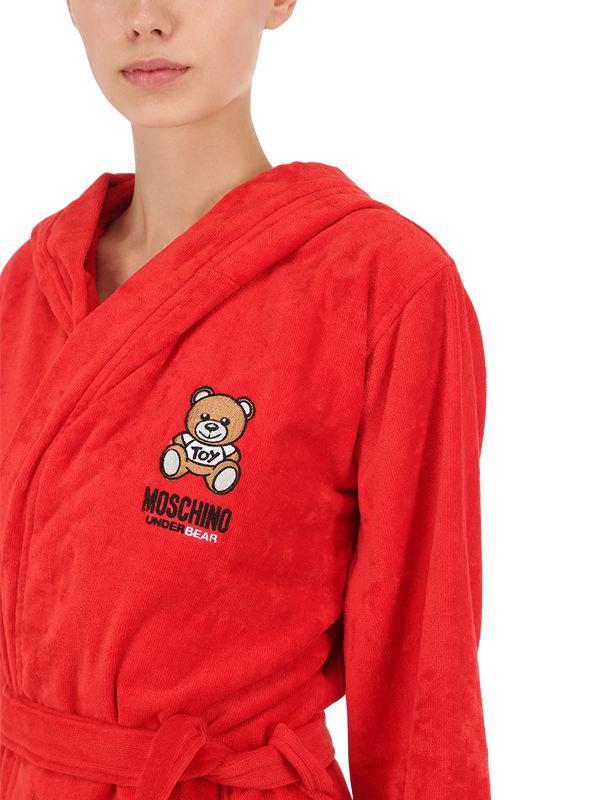 Moschino Underbear Cotton Bathrobe in Red - Lyst 6b6abfdf5