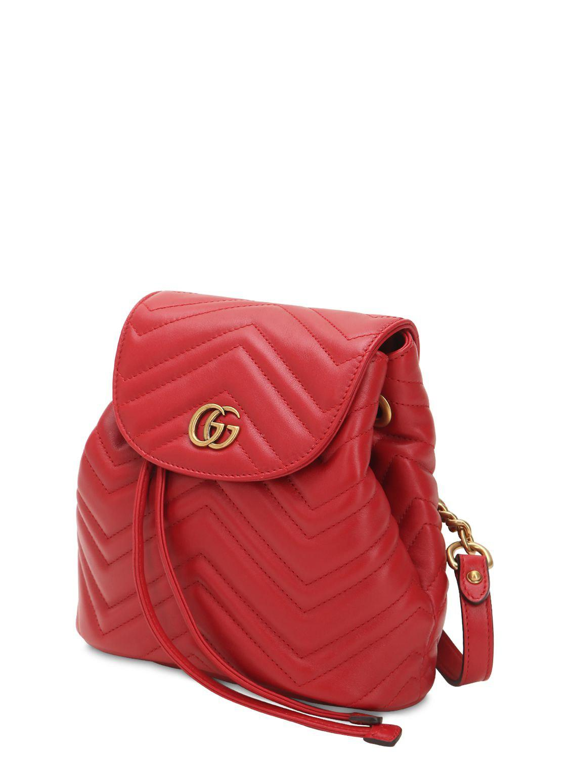 8130bfb2110 Gucci Mini Gg Marmont Leather Backpack in Red - Save 12% - Lyst