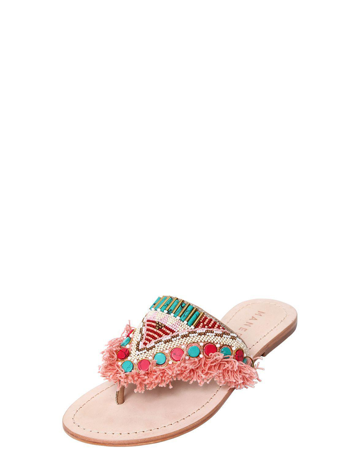 MANEBI 10MM FRINGED EMBELLISHED LEATHER SANDALS Outlet 2018 Newest Best Store To Get Hard Wearing A9IR6ifE