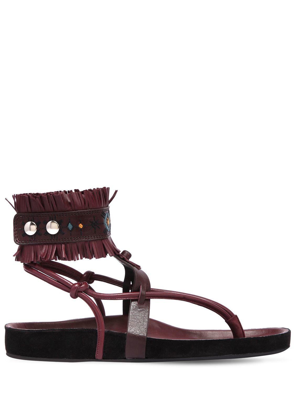 176ac296bfbf Lyst - Isabel Marant 20mm Eliby Fringed Leather Sandals