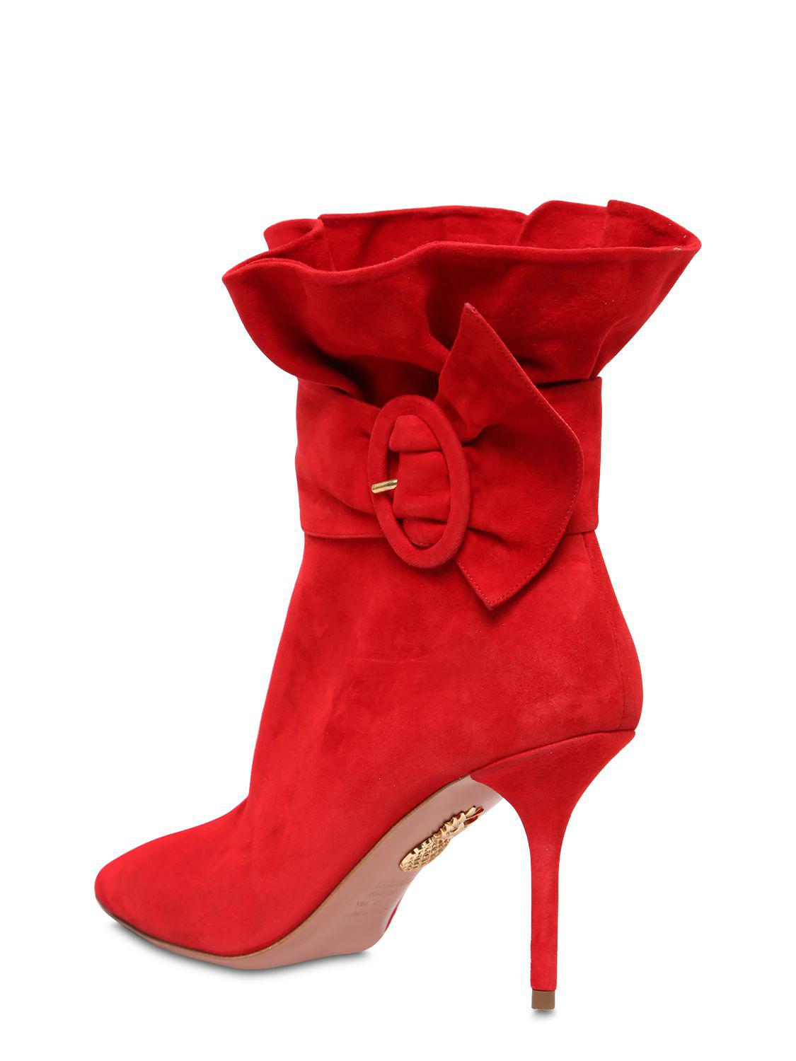 Aquazzura 85MM PALACE RUFFLED SUEDE ANKLE BOOTS 79lZn7TU