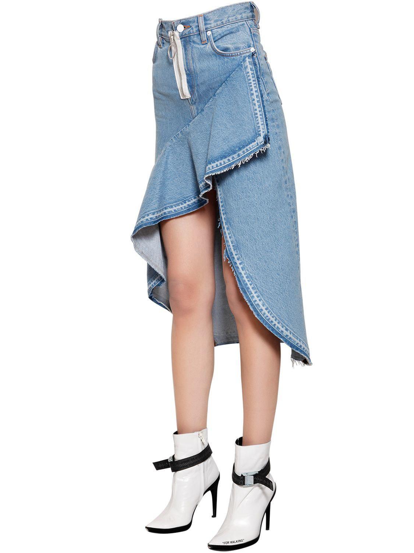 d359c9f8da Off-White c/o Virgil Abloh - Blue Asymmetrical Ruffled Cotton Denim Skirt -
