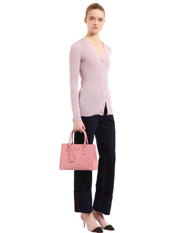 32ad88019201 Prada Medium Galleria Saffiano Leather Bag in Pink - Save 27% - Lyst