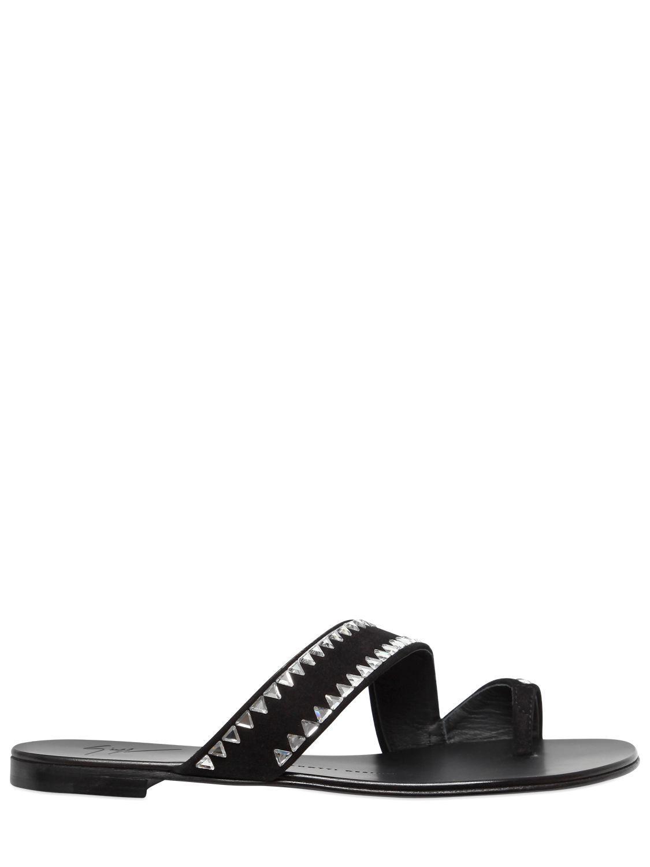 7eb318481d6 Lyst - Giuseppe Zanotti 10mm Swarovski Suede Sandals in Black