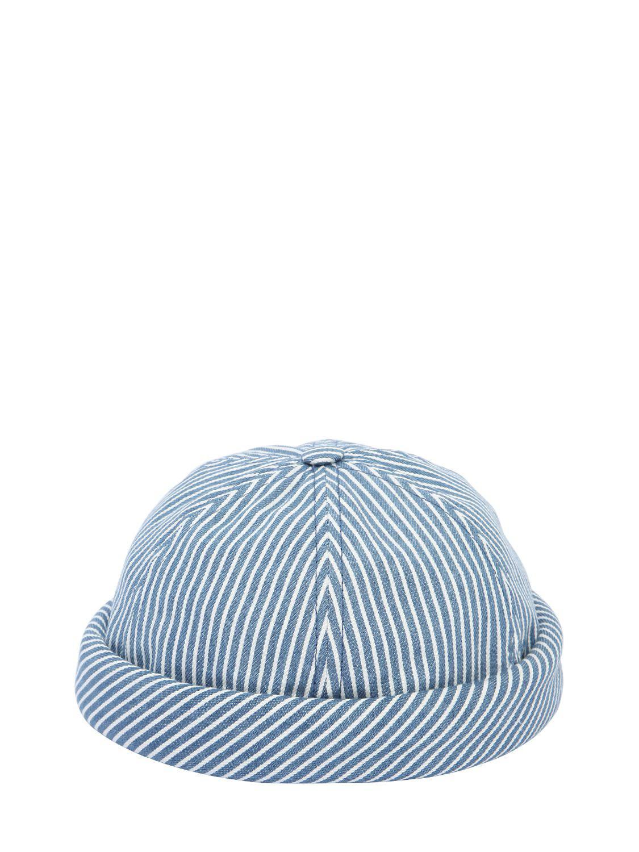 Lyst - Beton Cire Handmade Striped Cotton Denim Sailor Hat in Blue ... 4db08c261b60