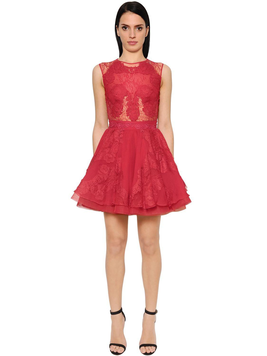 Lyst - Zuhair Murad Abito In Cady E Chiffon in Red