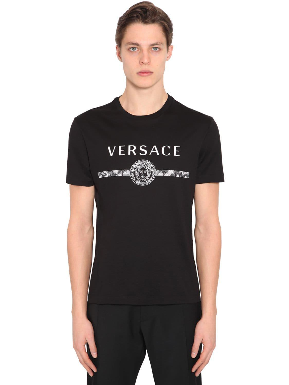 40991a59d Versace - Black Printed Logo Cotton Jersey T-shirt for Men - Lyst. View  fullscreen