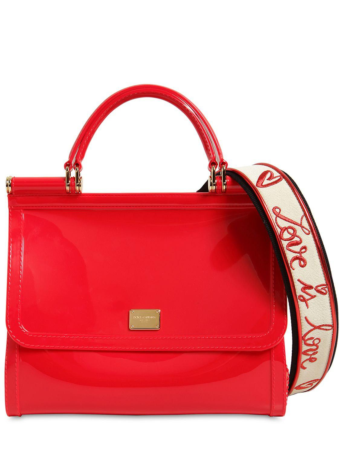 18f3484b1d2 Dolce   Gabbana Sicily Faux Patent Leather Bag in Red - Lyst