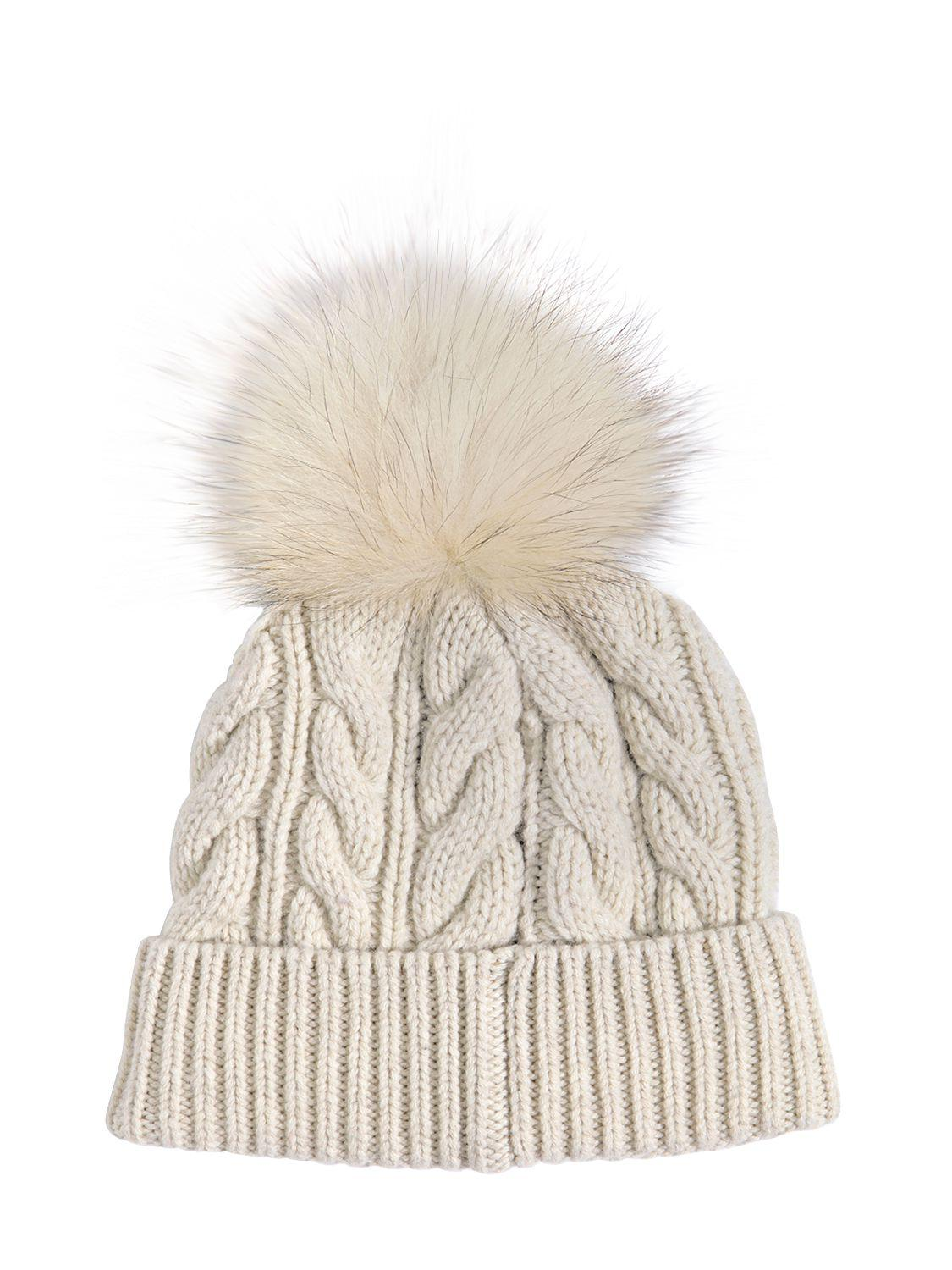 Moncler Grenoble Wool   Cashmere Knit Hat W  Fur Pompom in Natural ... c45aa588648f