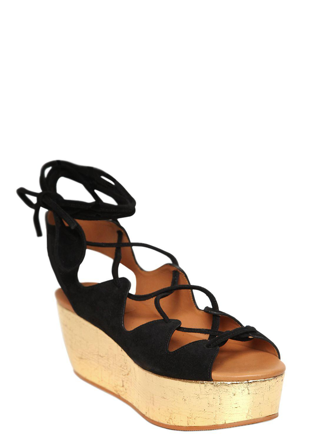 bdcf1daaf933 See By Chloé 70mm Suede Lace-up Wedges in Black - Lyst