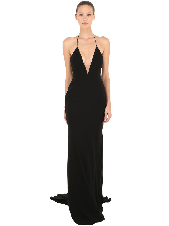 ec69e12ef60 Lyst - Alex Perry Satin Crepe Deep V Long Halter Dress in Black