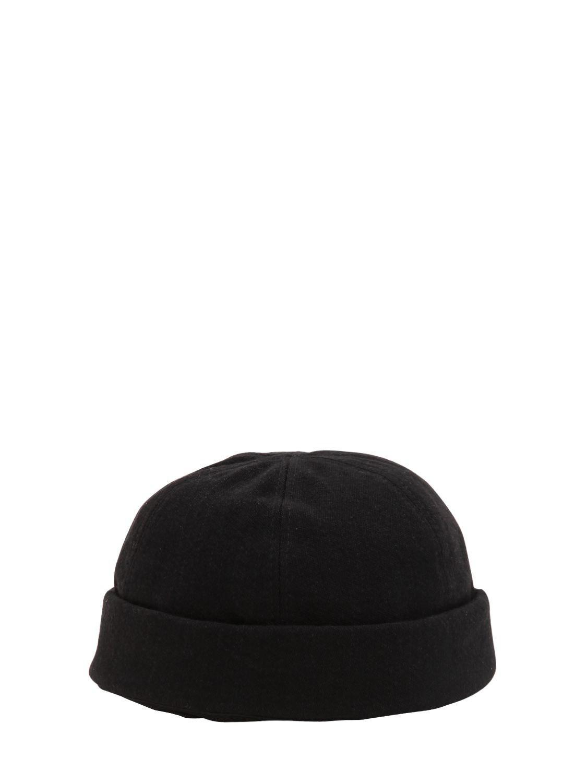 Isabel Benenato Wool   Cotton Canvas Skullcap Hat in Black for Men ... cb1359480496