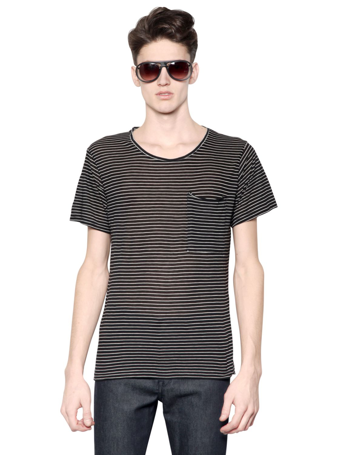 April77 striped cotton modal jersey t shirt in black for for Modal t shirts mens
