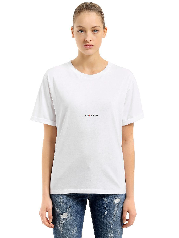 lyst saint laurent logo printed cotton jersey t shirt in. Black Bedroom Furniture Sets. Home Design Ideas