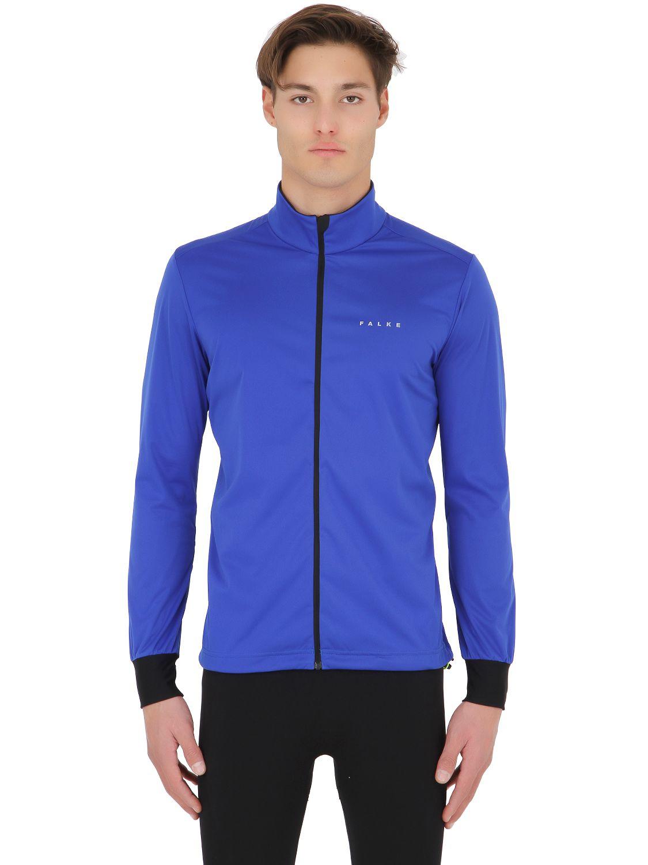 falke half zip running windbreaker jacket in blue for men. Black Bedroom Furniture Sets. Home Design Ideas