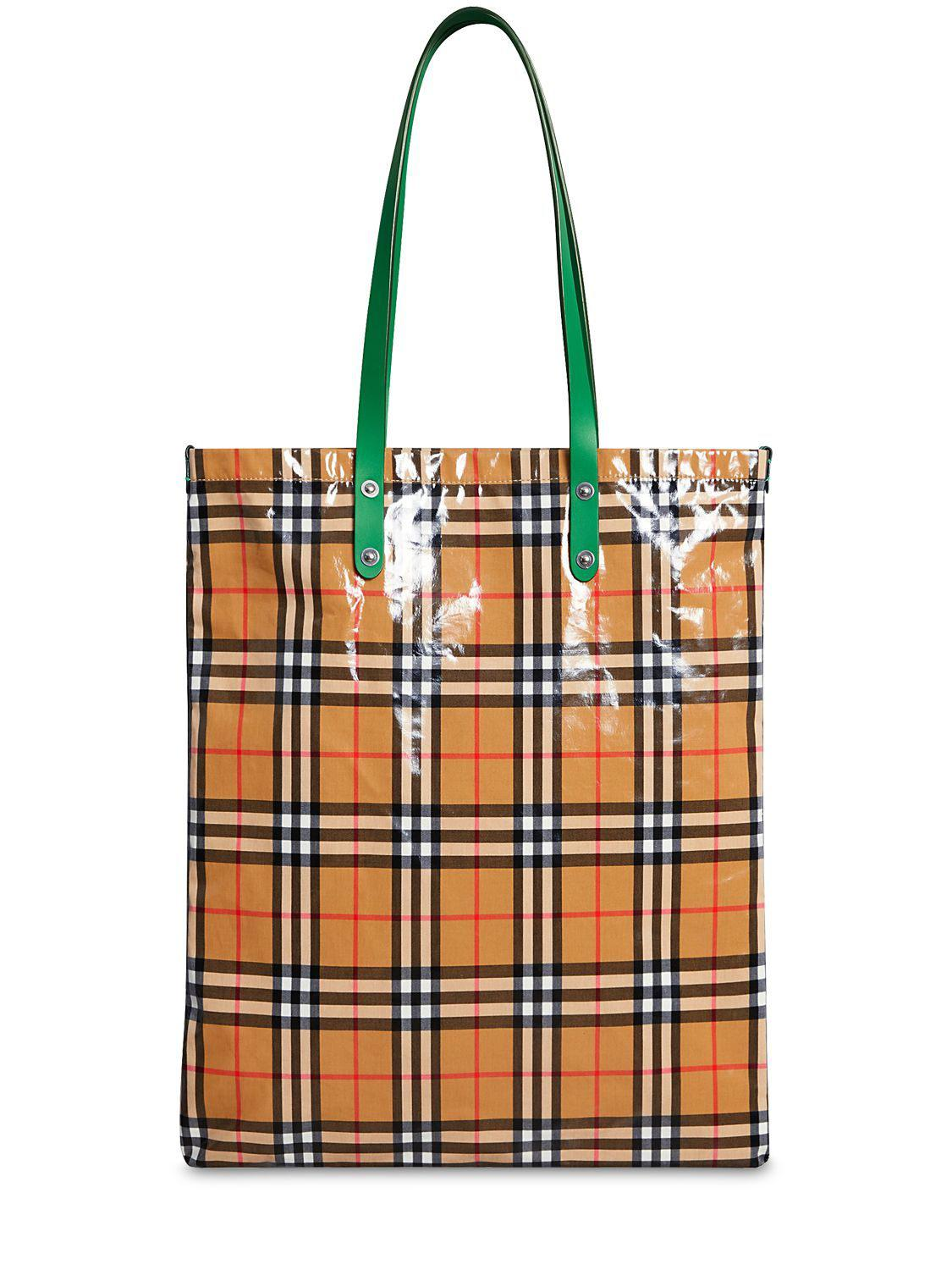 df42d89e4b81 Lyst - Burberry Runway Fw18 Coated Check Canvas Tote Bag in Red