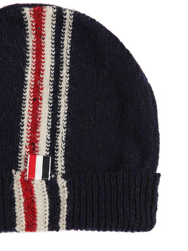 Thom Browne Stripe Intarsia Wool   Mohair Knit Hat in Blue for Men ... 81f89378187a