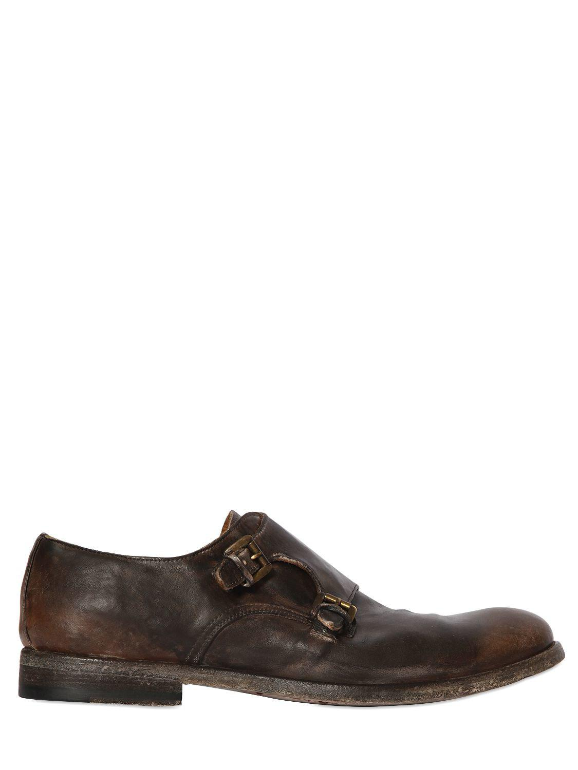 SHOTOWASHED LEATHER MONK STRAP SHOES ktYDME
