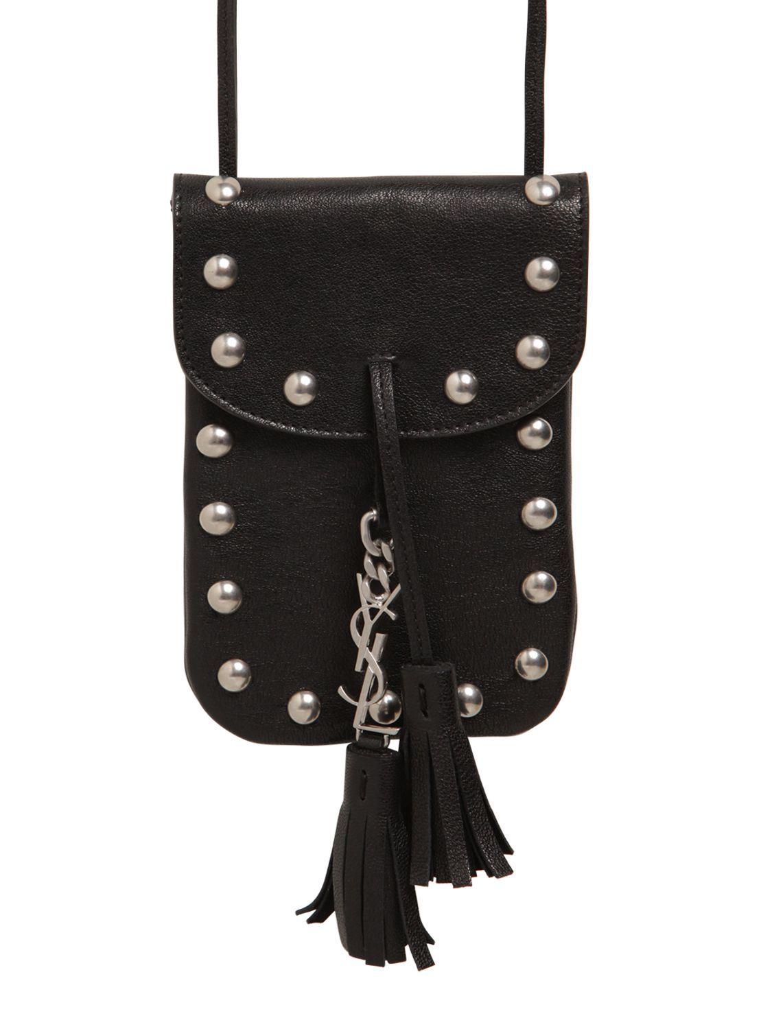 3525bf393b Lyst - Saint Laurent Anita Studded Leather Cross-Body Pouch in Black