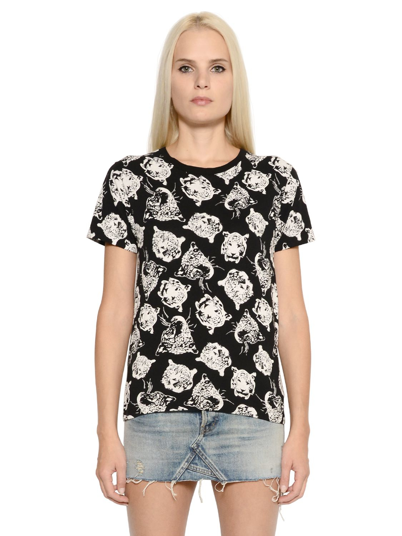 Saint laurent tiger printed cotton jersey t shirt in black for Saint laurent shirt womens