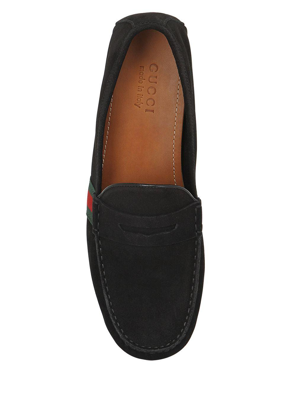 Gucci Leather Web Gg Driving Loafers in Brown for Men - Lyst