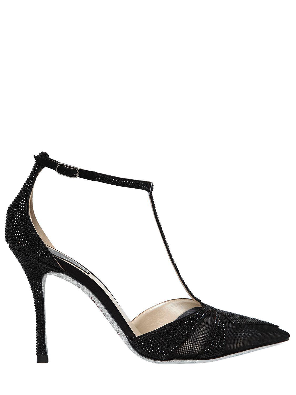 81b2fc67992 Lyst - Rene Caovilla 100mm Swarovski Mesh T-bar Sandals in Black ...