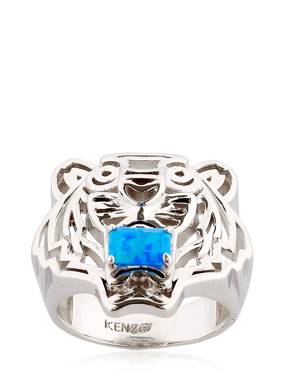 kenzo tiger logo ring in metallic lyst