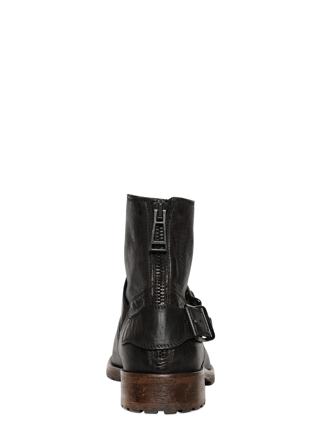 Belstaff Trialmaster Waxed Leather Ankle Boots In Black