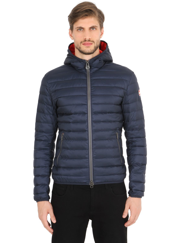 colmar hooded nylon down jacket in blue for men navy red lyst. Black Bedroom Furniture Sets. Home Design Ideas