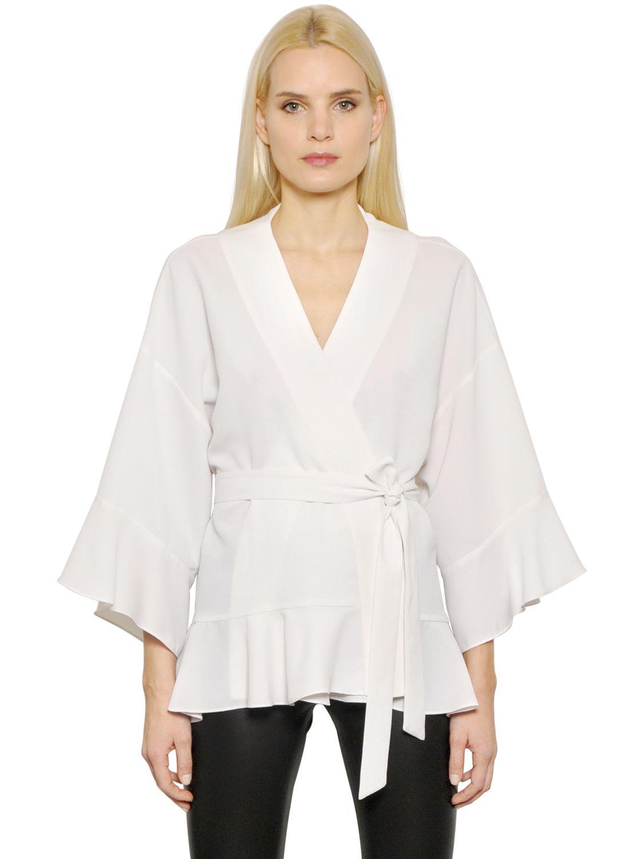 e09c3c540640e7 Lyst - Designers Remix Ottoman Kimono Wrap Top With Ruffles in White