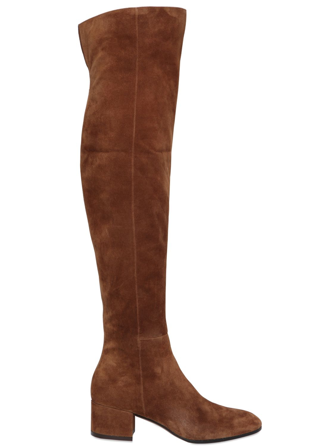 Lyst Gianvito Rossi 45mm Suede Over The Knee Boots In Brown